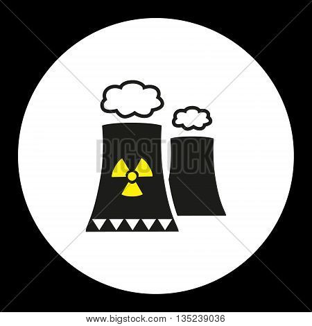 Nuclear Power Plant With Chimney Isolated Black Icon Eps10