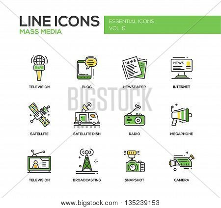 Set of modern vector line design mass media icons and mass media pictograms. Tv, newspaper, blog, internet, radio satellite, megaphone, broadcasting, camera, snapshot