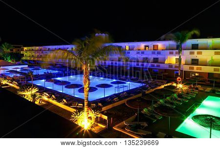 modern resort pool at the night Rhodes Greece