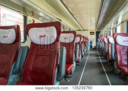 Moscow Russia - June 14.2016. Interior of two-storey train number 45 route from Moscow to Voronezh at the Kazan station