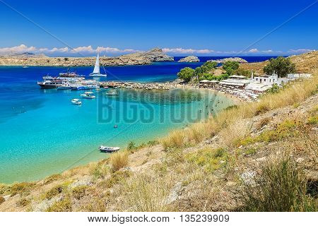 scenic Rhodes island, Lindos bay. Greece sunny day