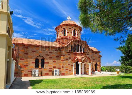 ancient beautiful church Greece Rhodes summer day