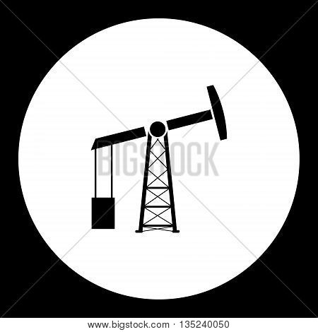 Black Oil Rig Production Isolated Black Icon Eps10