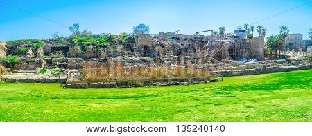 Panorama of the ancient ruins of Caesaria Maritima Roman city nowadays the famous archaeological site of Israel.