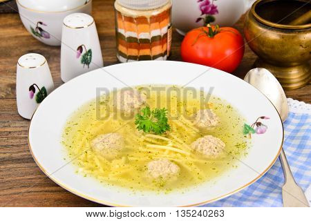 Soup with Chicken Meatballs and Noodles Studio Photo