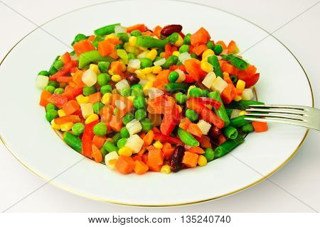 Mexican Mix of Vegetables. Tomatoes, Beans, Celery Root, Green Beans, Peas, Corn. Dietary Food