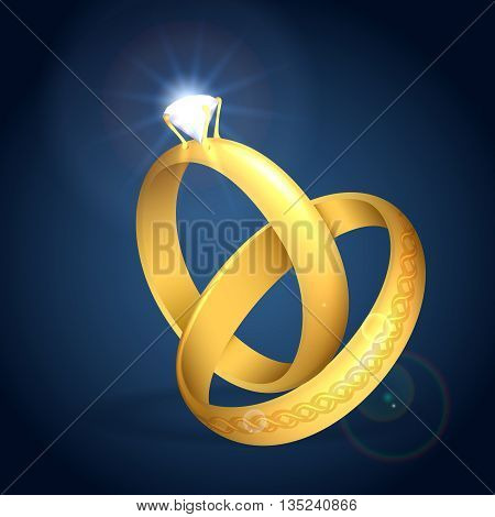 Wedding rings with diamond. Pair of golder rings. Vector illustration