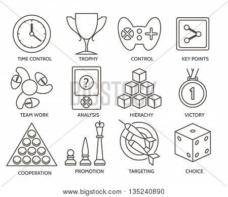 Business gamification icons. Business fun competition game signs. Vector illustration