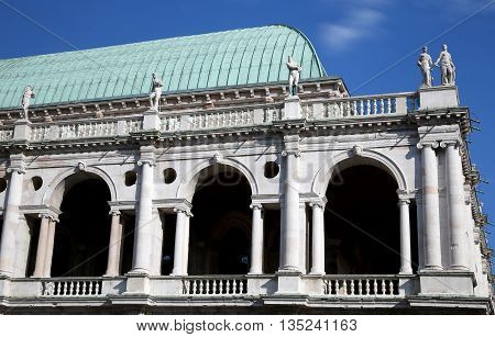 Vicenza, Italy. Statues And Roof Detail Of The Palladian Basilica