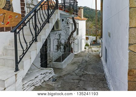 Street in the village of Theologos, Thassos island, East Macedonia and Thrace, Greece