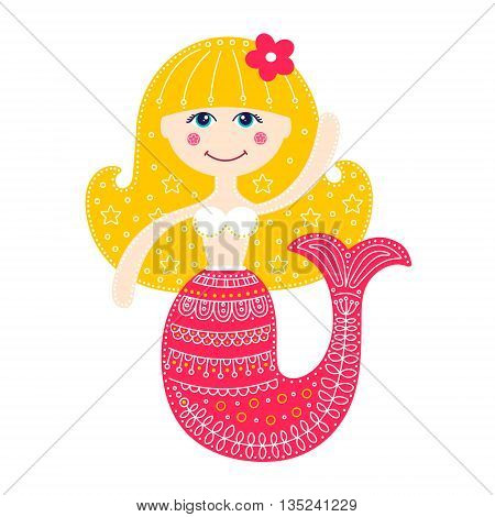 Cute mermaid. Vector hand drawn flat mermaid with doodle ornament. Isolated. Bright colors - pink yellow white. On white background. Design for children.