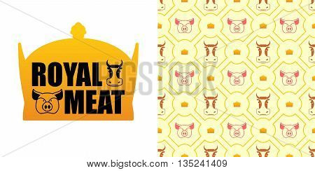 Royal Meat. Excellent Tasty Beef And Pork. Logo For Farming And Meat Production. Pigs And Cows And M