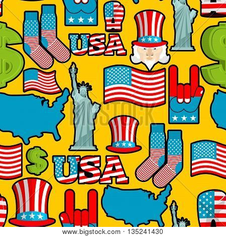 America Symbols Patriotic Pattern. Usa National Ornament. State Traditional Background. Map Of Count