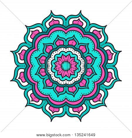 Vector mandala. Hand drawn tribal mandala with doodle ornament. Ethnic Indian mascot. Flower mandala amulet. Pink white and green colors. Isolated.