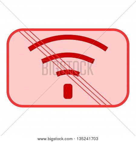 No Wifi sign. Bad internet connection sign. No signal bad antenna no wifi no wireless connection symbol. Wi-fi symbol. Wireless Network icon. No wifi. Red prohibition sign. Stock Vector ilustration