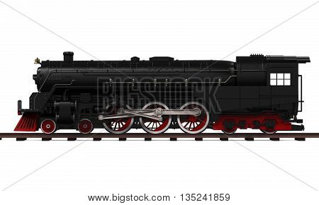 Steam Locomotive Train isolated on white background. 3D render