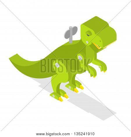 Toy Dinosaur. Tyrannosaurus Rex Isometrics. Prehistoric Lizard. Cute Retro Clockwork Robot  Dino. An