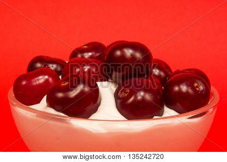 Cherry Dessert In A Glass Cup