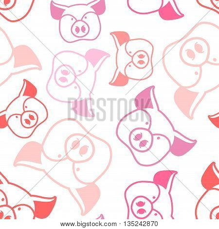 Pig Seamless Pattern. Boar Head Ornament. Pork Texture. Cute Farm Animals. Retro Background For Baby