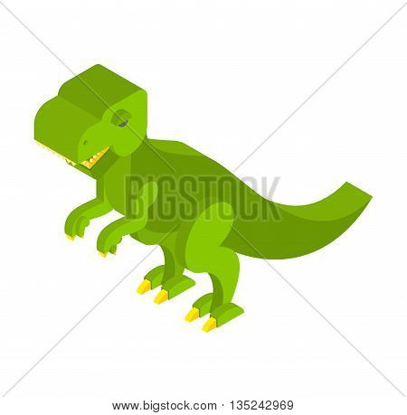 Dinosaur Tyrannosaurus Isometric. Prehistoric Monster With Teeth 3D. Ancient Reptile Of Jurassic Per