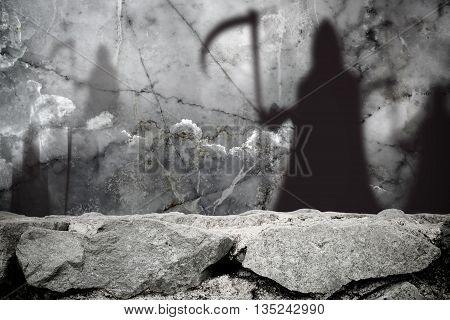 Ghost shadow blur standing in stone wall background
