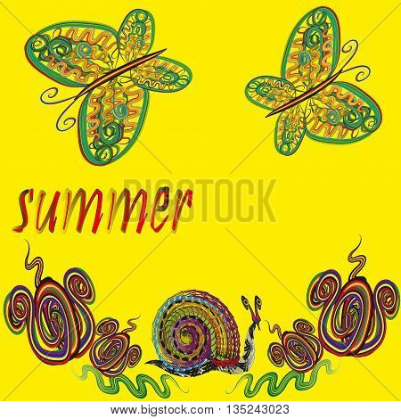 Bright vector illustration of summer Bright composition on a yellow background  with butterflies, flowers and a snail in a doodle style, vector illustration