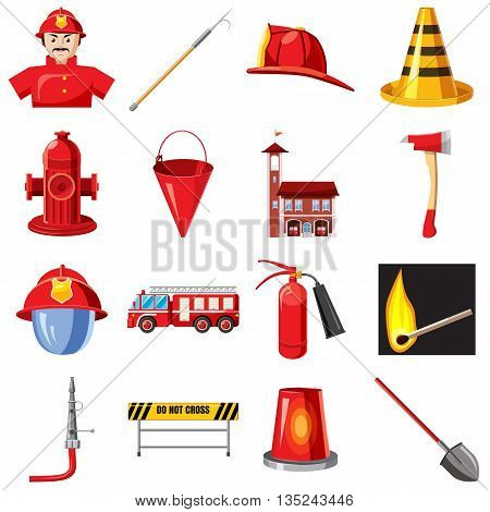 Fire Department icons set in cartoon style isolated on white background