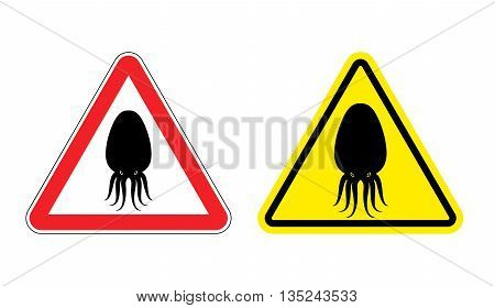 Warning Sign Of Attention Squid. Dangers Yellow Sign Octopus. Underwater Clam On Red Triangle. Set O