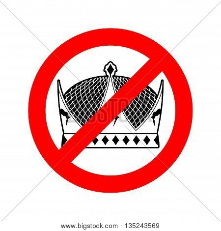 Stop King. Prohibited Emperor. Crossed-out Crown. Emblem Against Prince. Red Prohibition Sign. Ban M