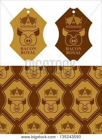 Royal Bacon Emblem. Pig In Crown. Logo For Farming And Meat Production. Excellent Quality And Taste
