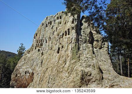 Thracian Sanctuary Eagle Rocks near town of Ardino in Rhodopes mountain, Kardzhali Region, Bulgaria