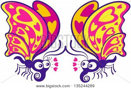 Beautiful couple of colorful butterflies flying, staring at each other and expressing they feel in love by showing hearts in their wings, joining their antennae and throwing hearts through their eyes