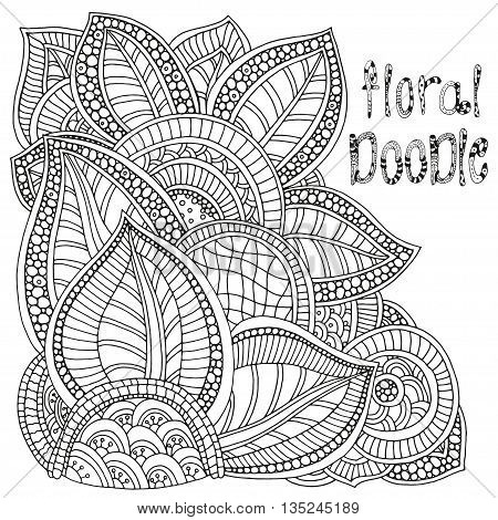 Floral doodle. Pattern for coloring book. Ethnic, floral, retro, doodle, vector, tribal design element. Sketch by trace. Zentangle, black and white background.