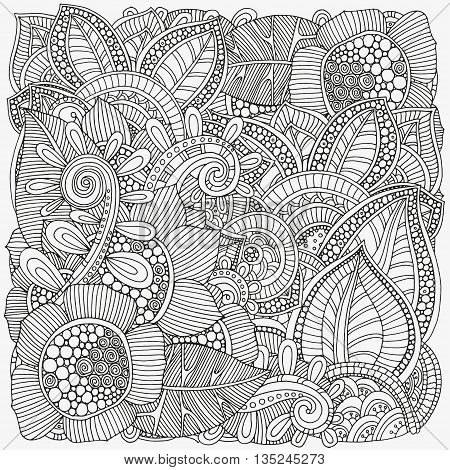 Pattern for coloring book. Ethnic, floral, retro, doodle, vector, tribal design element. Black and white background.