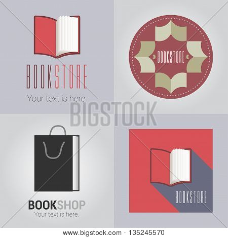 Set of bookstore or library vector logo. Education concept