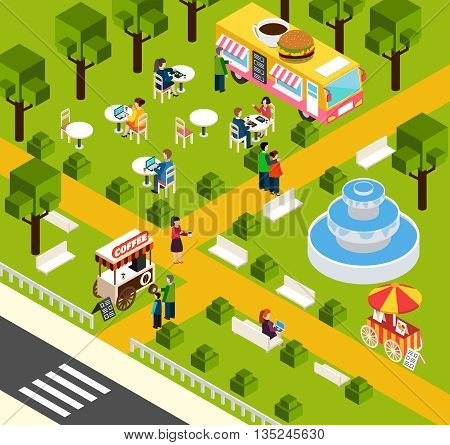 Street food truck in water park selling visitors donuts and coffee isometric composition poster abstract vector illustration
