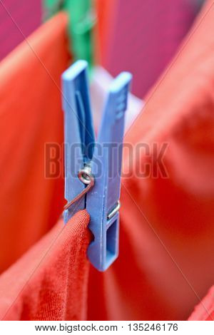 Blue Clothespin Closeup