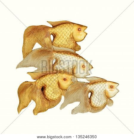 Wood carving fish isolated on white background