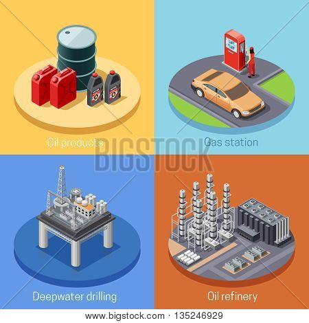 Oil industry isometric 4 icons square poster with refinery plant and gas station abstract isolated vector illustration
