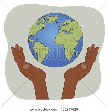 Hands of african american holding earth globe with care. Ecology concept