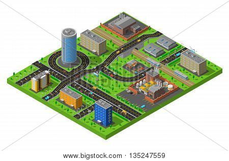 Industrial and residential city district elements isometric composition poster with streets and production facilities abstract vector illustration