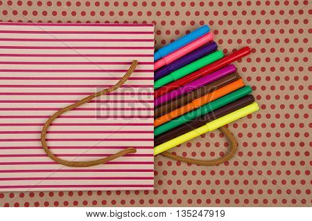 Education And Celebratory Concept - Handmade Striped Shopping Bag, Gift Bags, Desk Accessories, Colo