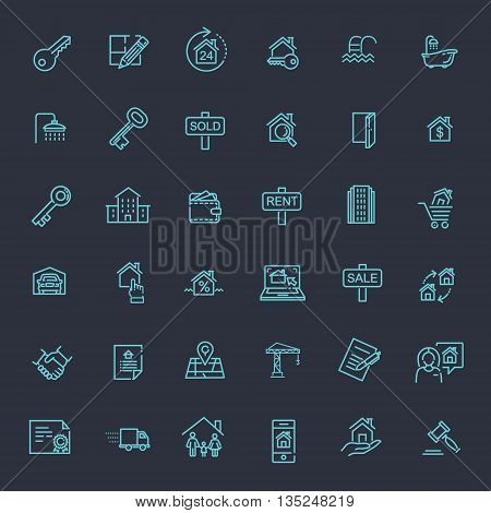 vector thin web icons set - Real Estate