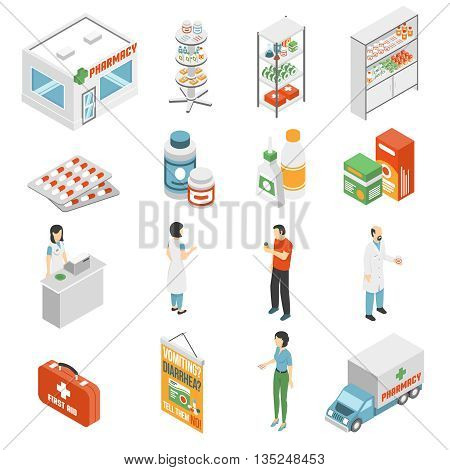 Pharmacy and medical supply service concept  isometric icons set with drugstore customer assistance abstract isolated vector illustration