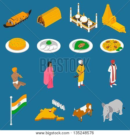 Indian spiritual and cultural symbols folk costumes and spicy cuisine isometric icons collection abstract isolated vector illustration