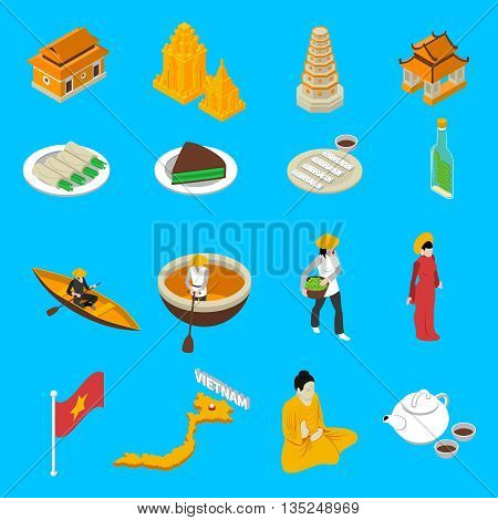 Vietnam traditional food clothing landmarks map and national cultural symbols isometric icons collection abstract isolated vector illustration