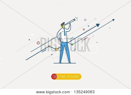Businessman with telescope looking to the future. growth charts. Vector illustration Eps10 file. Success, growth rates