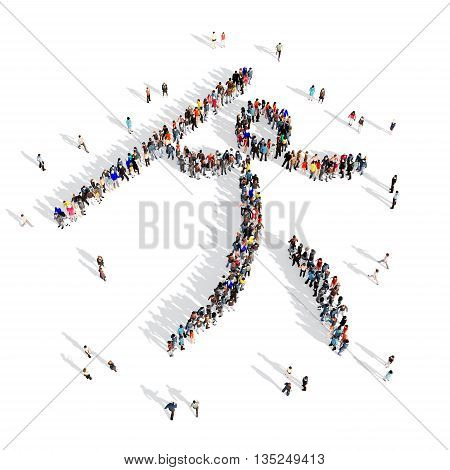 Large and creative group of people gathered together in the shape of a man, javelin, competition, sport. 3D illustration, isolated against a white background.