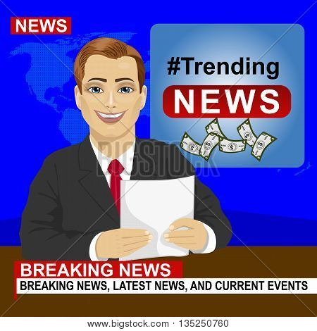 Young news anchor man reporting breaking news sitting in a studio