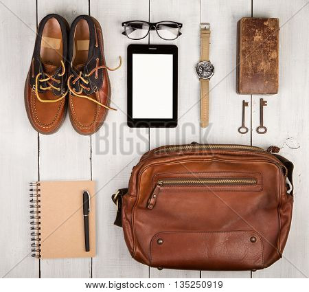 Travel Concept - Shoes, Bag, Tablet Pc, Notepad, Watch, Glasses, Casket And Vintage Keys